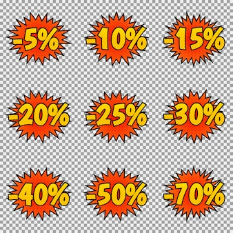 Set of nine discount labels. pop art, comic books style.