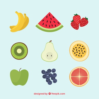 Set of nine flat tasty fruits