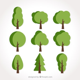 Set of nine flat trees in green tones