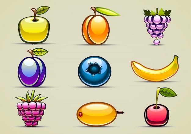 Set of nine fruits
