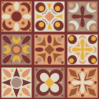 Set of nine geometry items semless pattern in autumn colors
