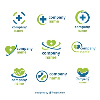 Set of nine green and blue health logos