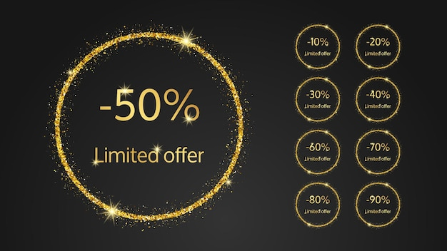 Set of nine limited offer gold banner with different percentages of discounts from 10 to 90. gold numbers in gold glittering circle on dark background. vector illustration