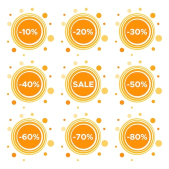 Set of nine sale stickers with different discount values. sale label template. vector illustration