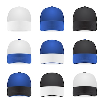 Set of nine two-color caps - with white, blue and black colors.  illustration.