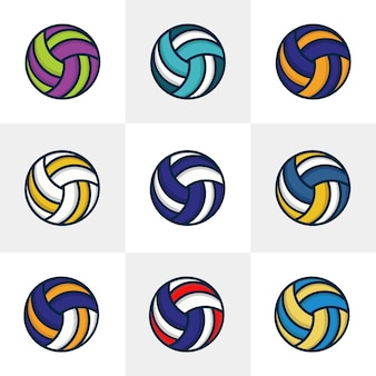 Set of nine volley ball vector