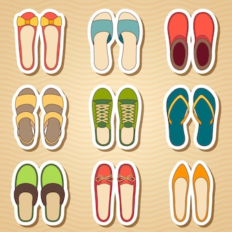 Set of nine woman shoes icon