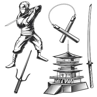 Set of a ninja elements