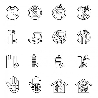 Set of no plastics sign. save the earth and good environment concept.