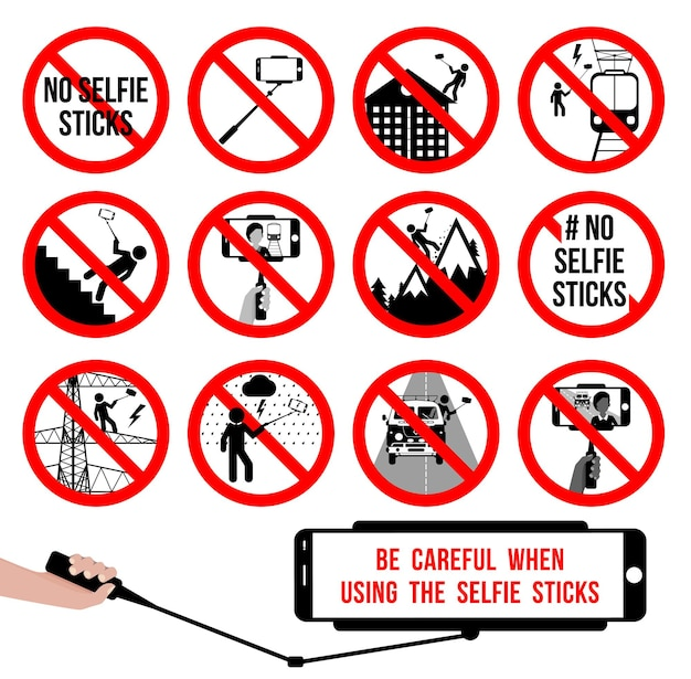 Set no selfie sticks selfie prohibited sign