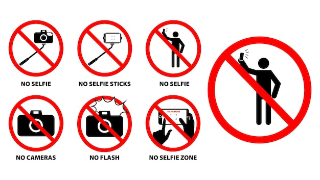 Set of no selfie zone or selfie prohibition sign eps vector