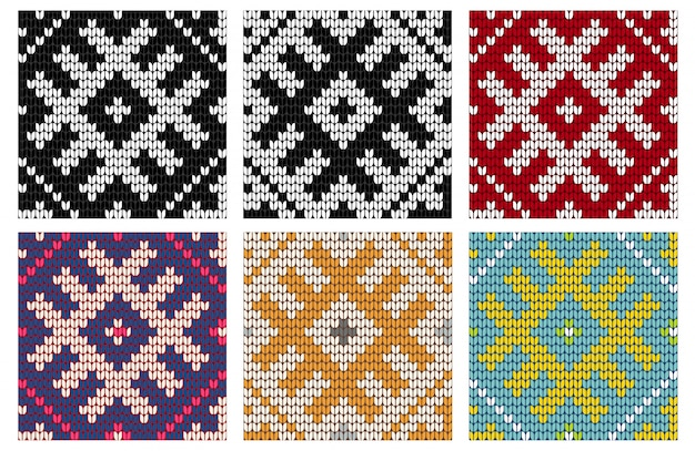Set of north knitting seamless patterns