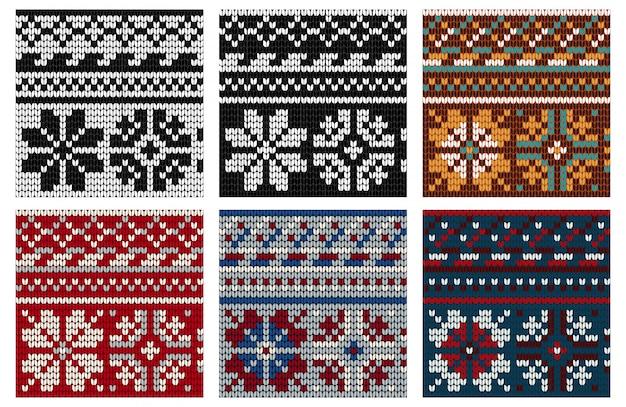 Set of norwegian knitting seamless pattern