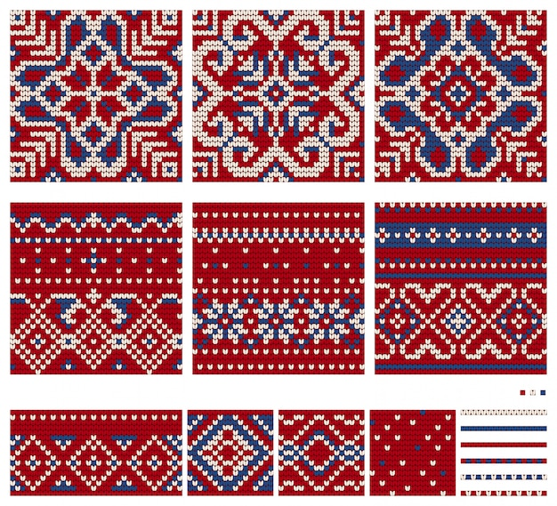 Set of norwegian star knitting patterns, vector seamless patterns