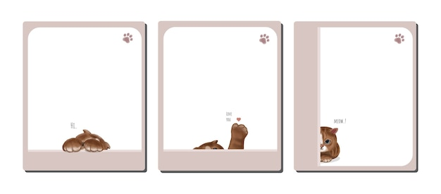 Set of note paper decorated with cute cat hand drawn