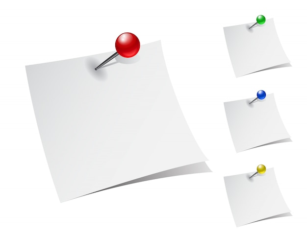 Set of note papers with push pins.