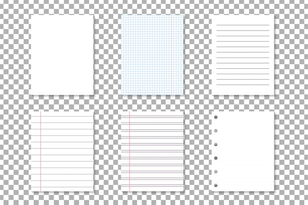 Set of  notebook paper lists for decoration and covering on the transparent background. concept of note, posting and education.
