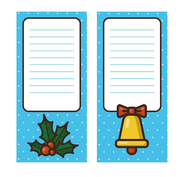 Set of notebook sheet with bell and holly vector template for banner ote sticker label tag