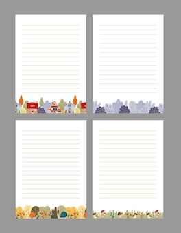 Set of notepad pages templates