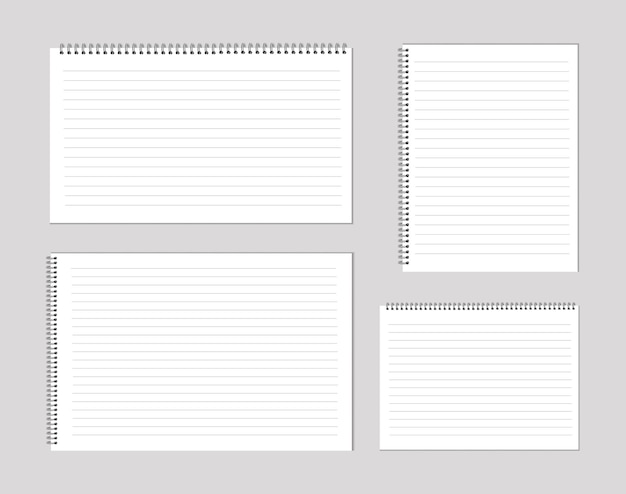 Set of notepads and paper sheets