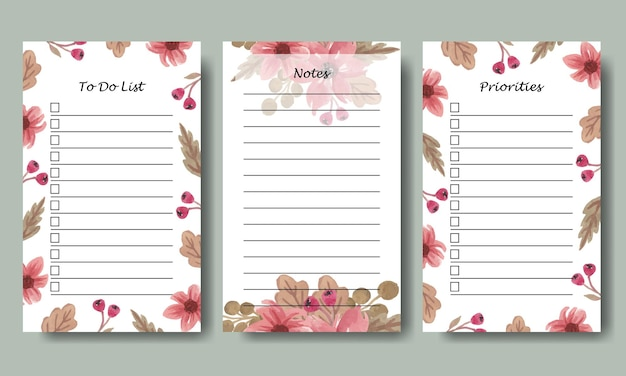 Set of notes to do list planner template with watercolor pink florals background