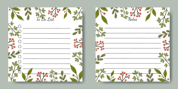 Set of notes to do list square template with hand drawn green leaf illustration background for stationery stuffs