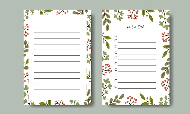 Set of notes and to do list template design with hand drawn green leaf illustration background printable