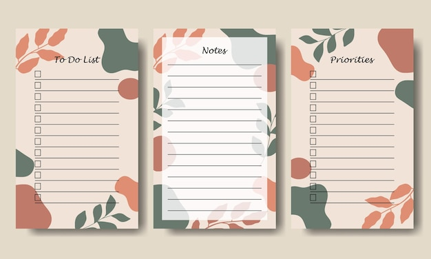 Set of notes to do list template with abstract shape and leaf background printable