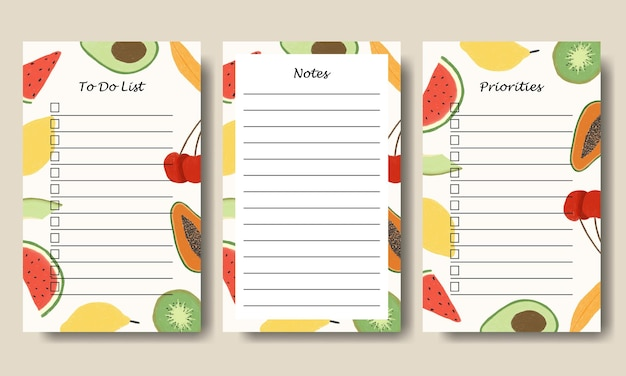 Set of notes to do list template with hand drawn fruits illustration background