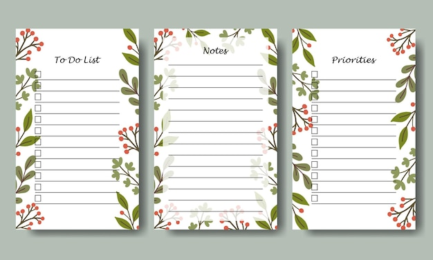 Set of notes and to do list template with hand drawn green leaf background vector collection for stationery