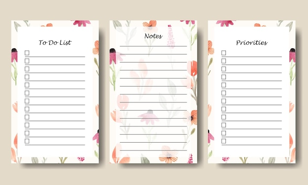 Set of notes to do list template with watercolor wildflowers background printable