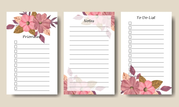 Set of notes to do list with hand drawn pink flowers leaf bouquet isolated white background