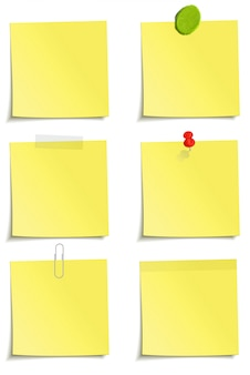 Set of notes whith clip, scotch tape, plasticine, sticker and pin attachment.  illustration  on white background.