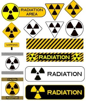 Set of nuclear icons radiation hazard warning radioactive