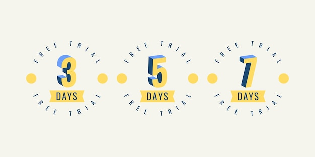 Set number 3 5 and 7 days free trial label template design