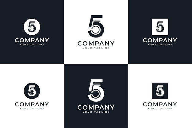 Set of number 5 logo creative design for all uses