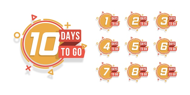 Set of number days to go countdown. countdown 1 to 10, days left label or emblem can be used for promotion, sale, landing page, template, ui, web, mobile app, poster, banner, flyer. .