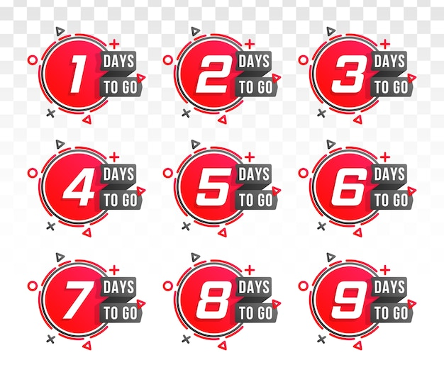 Set of number days to go countdown. countdown 1 to 10, days left label