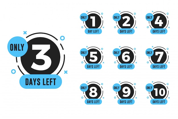 Set of number days left countdown for promotional banner