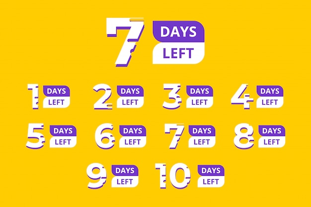 Set of number days left countdown