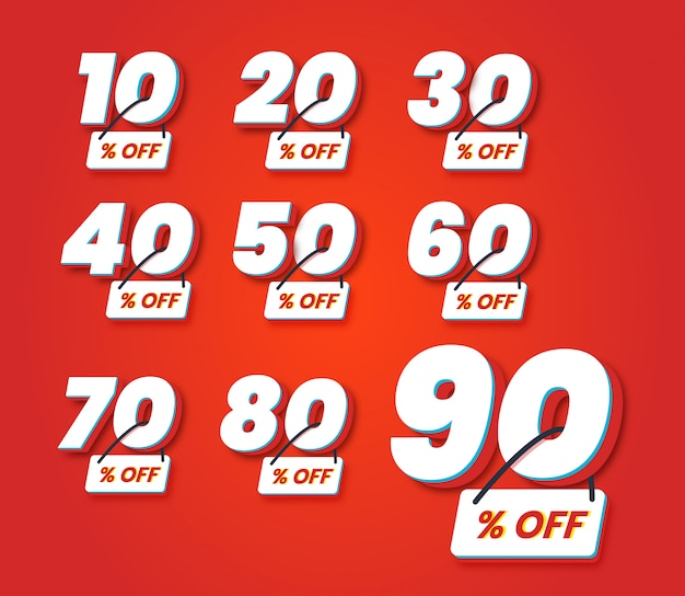 Set number special discount sign template