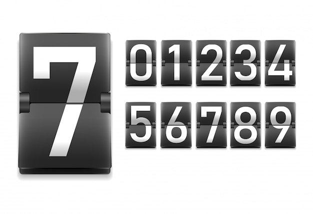 Set of numbers, digits in mechanical scoreboard style