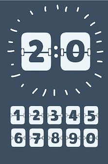 Set of numbers on a mechanical scoreboard vector template for your design