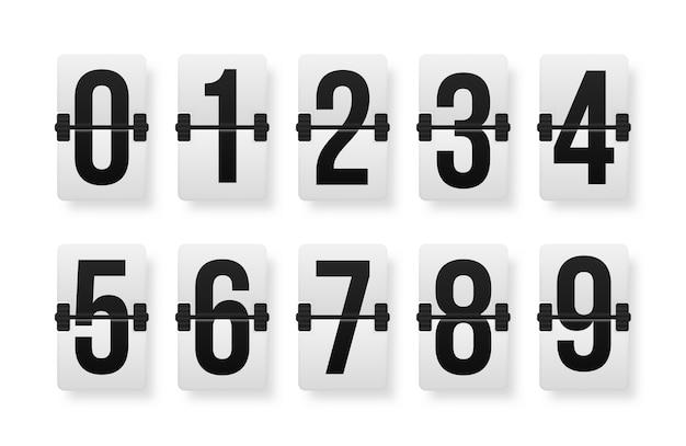 Set of numbers on a mechanical scoreboard.