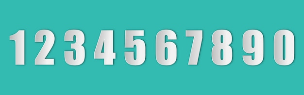 Set of numbers in paper style with a realistic shadow on the green background