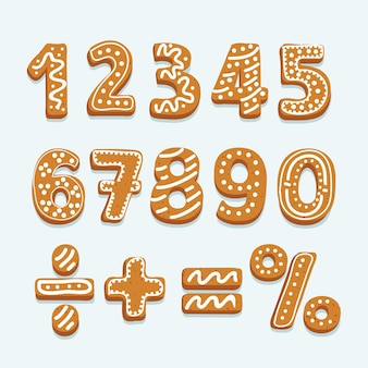 Set of numbers in shape of christmas gingerbread Premium Vector