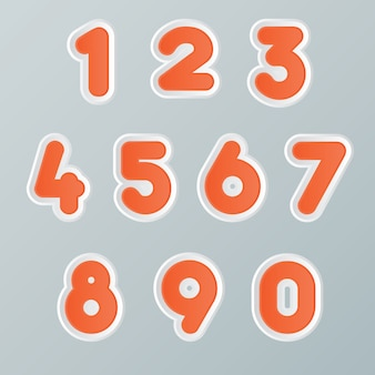 Set of numbers trendy typography