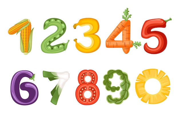 Set of numbers vegetables and fruit style food cartoon design flat vector illustration isolated on white background.