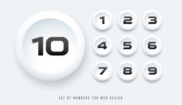 Set of numbers for web design