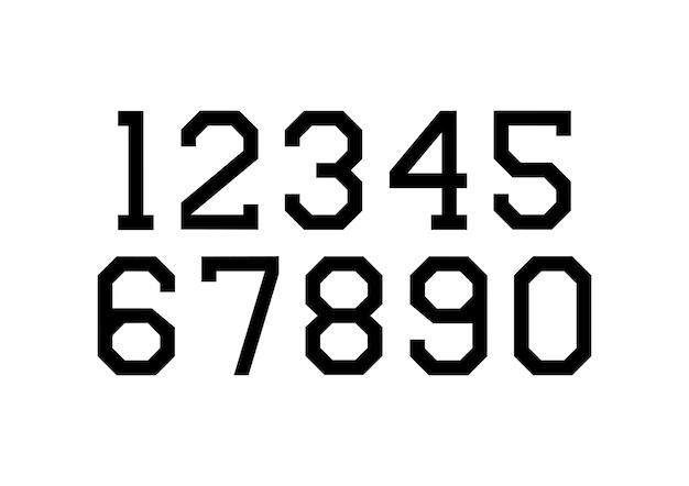 Set of numbers with black typography design elements